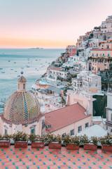 Positano at sunset, Amalfi Coast, Campania, Italy.