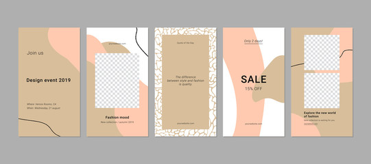 Instagram stories templates  for blog and sales, web online shopping banner concept. Set of 5 modern minimalistic backgrounds. Vector. Fototapete