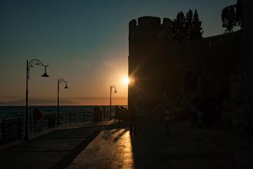 Kusadasi, Turkey - September 17, 2019: Castle on Pigeon Island in Kusadasi, Turkey. Historic Byzantine fortress on the sea.