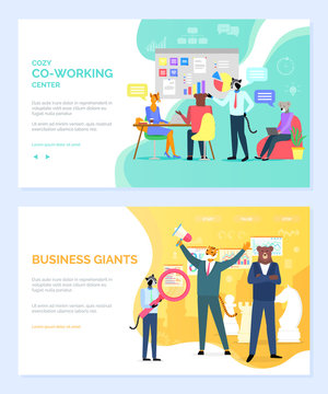 Crowdfunding vector, people with ideas business giants hipster animals. Cozy coworking center working characters in office laptop coding. Website or webpage template, landing page flat style