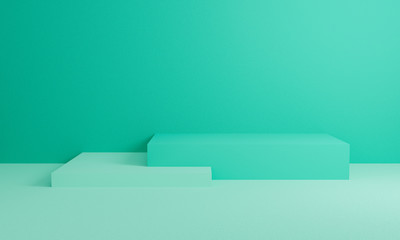 Abstract green on wall background texture with geometric shape. 3d render design for display...