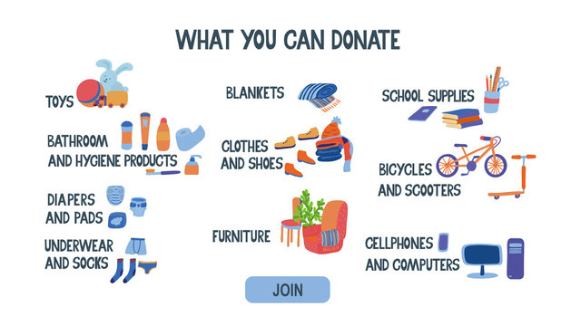 What  you can donate. List of items with pictures for charity. There are clothes, furniture, computer, books, bike, scooter, hygiene items, stationery, toys. Hand drawn illustration and lettering.