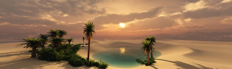 Oasis at sunset in a sandy desert, a panorama of the desert with palm trees, 3d rendering Wall mural
