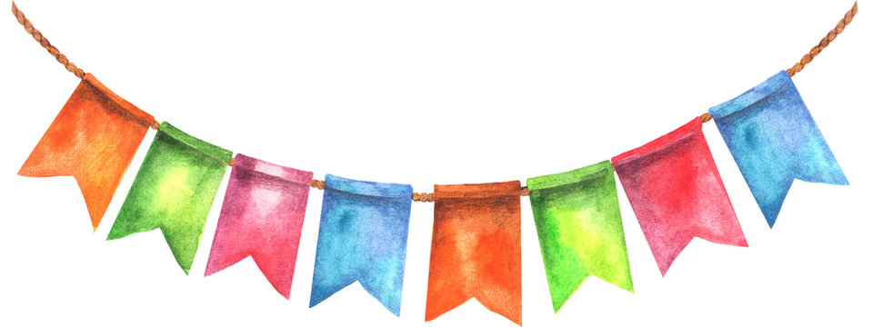 Colorful party flags illustration