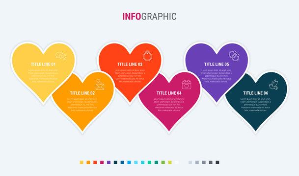 Timeline infographic design vector. 6 options, hearts workflow layout. Vector infographic timeline template. Warm palette.
