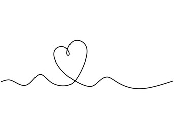 Continuous one line drawing of heart symbol of love with artistic lineart.