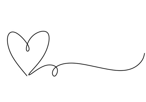 Heart one line drawing symbol of love. Vector continuous hand drawn sketch minimalism illustration isolated on white background.