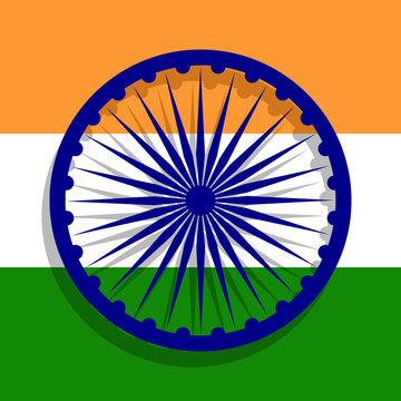 Ashoka Chakra in front of Indian national flag. Flat illustration.