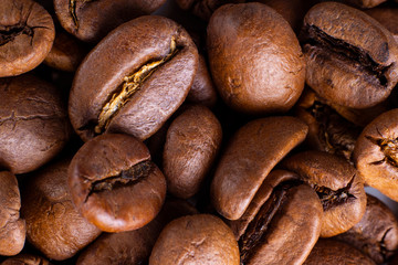 Coffee Beans Background. Close Up. Horizontal. Selective focus. Macro
