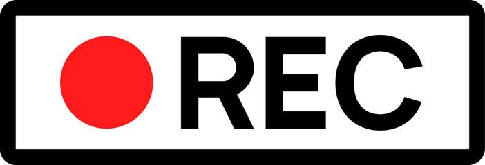 Obraz Recording sign icon. Red logo camera video recording symbol, rec icon - fototapety do salonu
