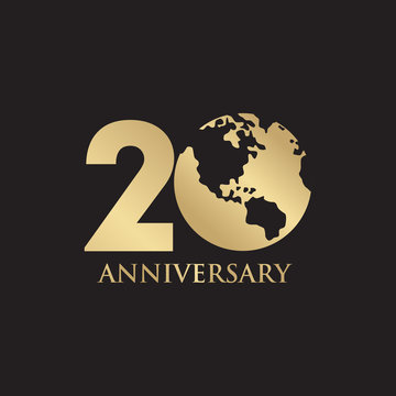 20th year anniversary emblem logo design vector template