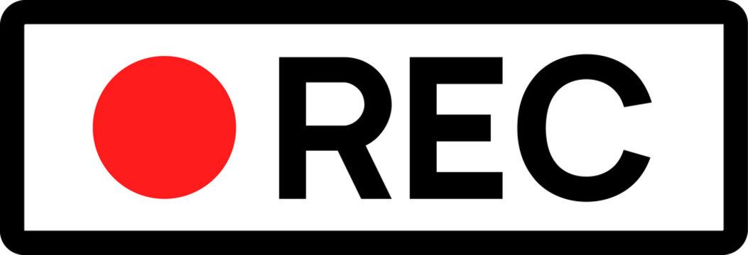 Recording sign icon. Red logo camera video recording symbol, rec icon