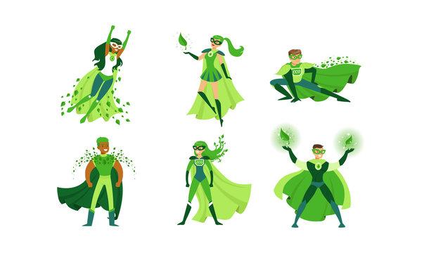 Eco Superheroes Wearing Green Costumes Vector Illustrations Set