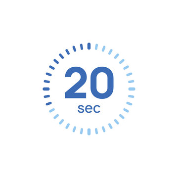 20 second timer clock. 20 sec stopwatch icon countdown time digital stop chronometer