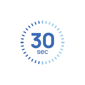 30 second timer clock. 30 sec stopwatch icon countdown time digital stop chronometer