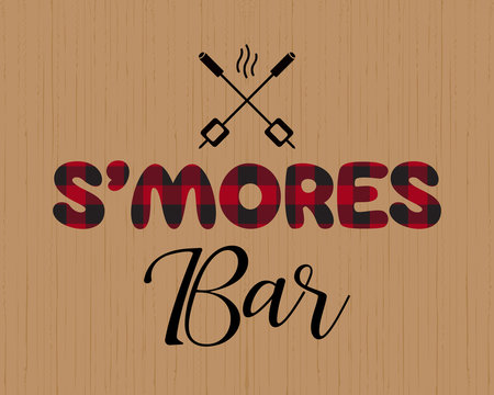 Smores bar buffalo plaid letters flat sign vector
