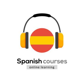 Spanish language learning logo icon with headphones. Creative spanish class fluent concept speak test and grammar