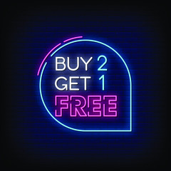 Buy 2 Get 1 Free Neon Signs Style Text Vector