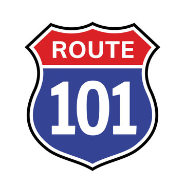 101 route sign icon. Vector road 101 highway interstate american freeway us california route symbol