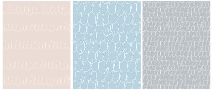 Abstract Hand Drawn Irregular Scribbles Seamless Vector Patterns. White Free Hand Waves and Lines with Loops on a Light Blue, Beige and Gray Background. Childish Style Geometric Vector Print.