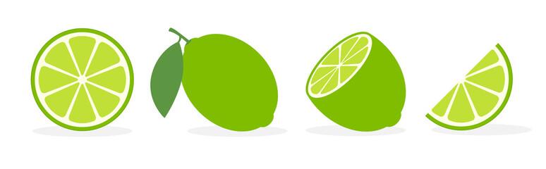 Vector lime slice green illustration lemon isolated half fruit lime. Fresh green cut citrus icon Wall mural