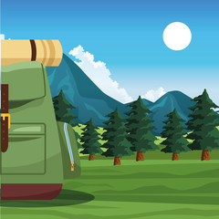 travel backpack over nature landscape background