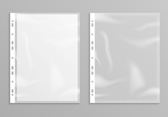 Sheet plastic protector, clear folder file. Punched pocket sheet mockup empty a4