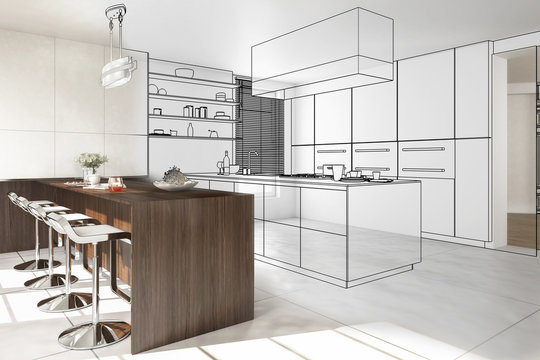Interior of modern kitchen - 3D illustration