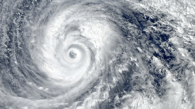 Eye of the Hurricane. Hurricane on Earth. Typhoon over planet Earth.. Category 5 super typhoon approaching the coast. View from outer space. (Elements of this image furnished by NASA)