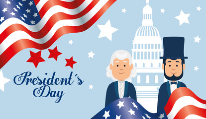 happy presidents day with people and decoration vector illustration design Fotomurales