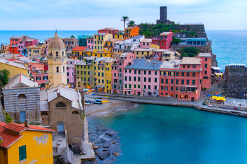 Photo sur cadre textile Europe Méditérranéenne Beautiful landscape view of Vernazza famous landmark at Cinque terre Italy.