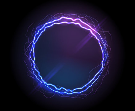 Electric circle or plasma round, realistic vector illustration. Abstractt round lightning frame with burning rays or powerful electric discharges isolated on black. Magical energy design element