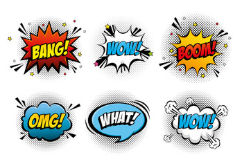 Canvas Prints Pop Art set of expressions and explosions pop art style icon vector illustration design