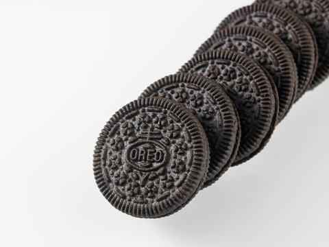 oreo cookies on the white background