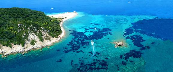 Obraz Aerial drone ultra wide photo of iconic small island of Marathonisi with turquoise sea, Zakynthos island, Ionian, Greece - fototapety do salonu