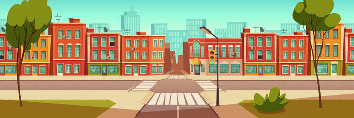 Urban street landscape with crossroad and traffic light, buildings with small shops, cafes and restaurants cartoon vector background, town poster with empty street space Fotomurales