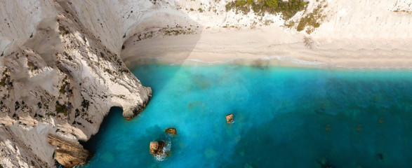 Aerial drone ultra wide photo of paradise white bay with turquoise clear sea in island of Kefalonia, Ionian, Greece Fototapete