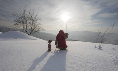Foto op Aluminium Grijs Santa Claus on a snowy mountain winter landscape