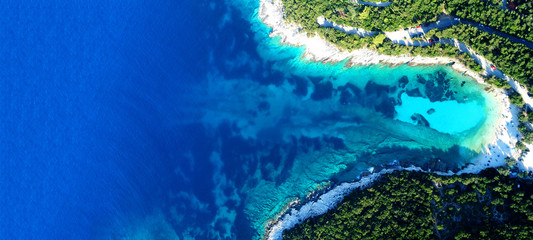 Foto auf Leinwand Dunkelblau Aerial drone ultra wide photo of paradise turquoise bay with clear sea in exotic Caribbean island