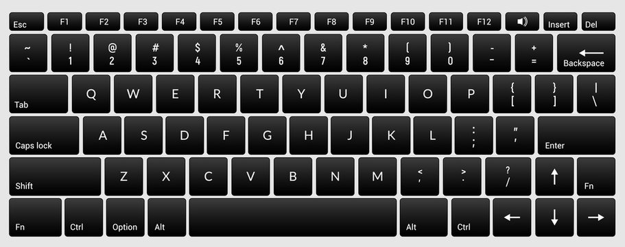 Laptop keyboard computer isolated black key button board for digital pc