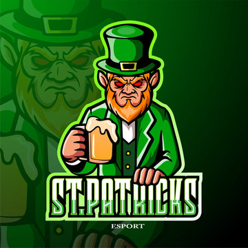 St. Patrick leprecheun mascot esport logo design.