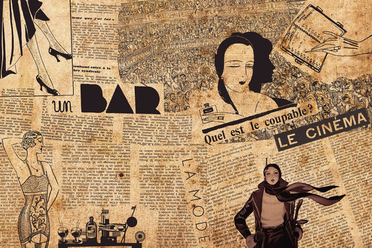 Paris, France - December 15, 2019: Collage of french newspaper headlines, draws and articles in 1930s - french atmosphere theme