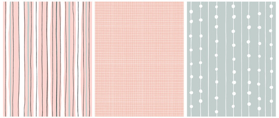 Hand Drawn Childish Style Seamless Vector Patterns.White,Black and Gray Vertical Stripes on a Pink Background. White Grid On a Pink.White Tiny Lines with Dots on a Light Green.Simple Geometric Prints. Wall mural