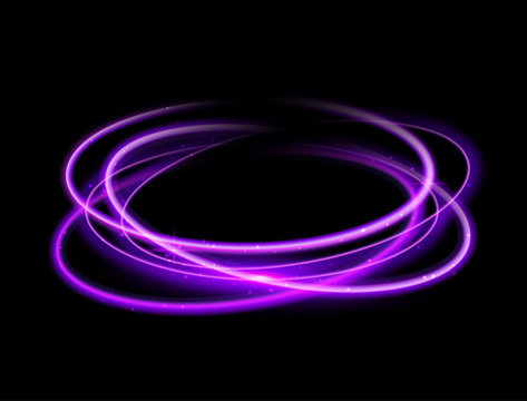 Purple circle light effect background. Swirl glow magic line trail. Light effect motion