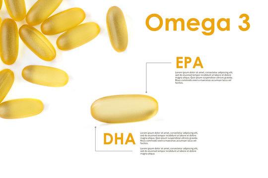 Oil capsule Omega 3. Fish oil.