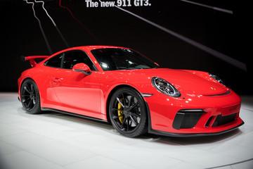 GENEVA, SWITZERLAND - MARCH 7, 2017: 2018 Porsche 911 GT3 sports car presented at the 87th Geneva International Motor Show.