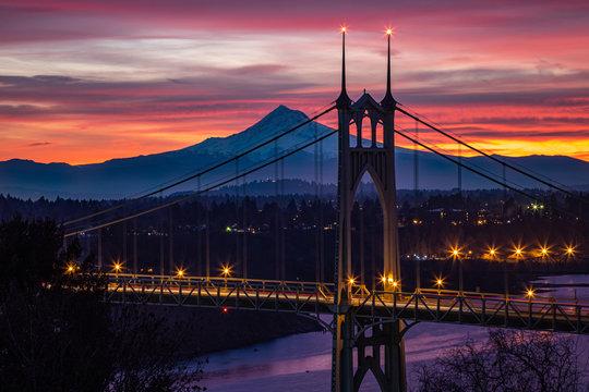 Sunrise with Mountain behind Bridge