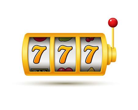 Casino jackpot slot machine lucky vector game icon. 777 slot machine