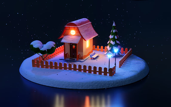 Low polygonal isometric model of a christmas house. 3d rendering illustration