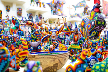 Traditional huichol bead ornament figures mexican culture